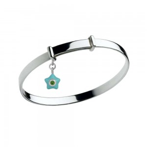 Sterling Silver Kids May Birthstone Star Charm Adjustable Bangle