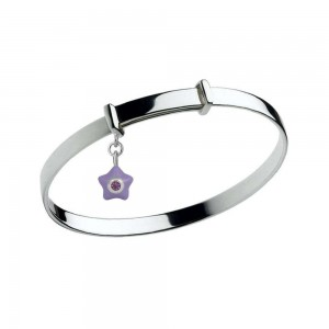 Sterling Silver Kids June Birthstone Star Charm Adjustable Bangle