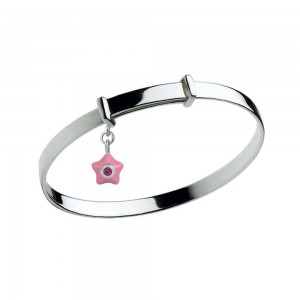 Sterling Silver Kids July Birthstone Star Charm Adjustable Bangle