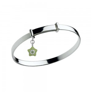 Sterling Silver Kids August Birthstone Star Charm Adjustable Bangle
