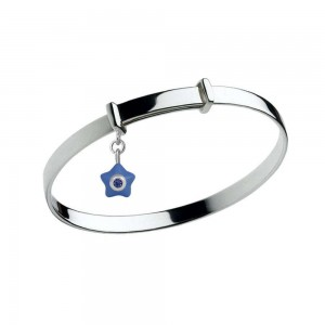 Sterling Silver Kids September Birthstone Star Charm Adjustable Bangle