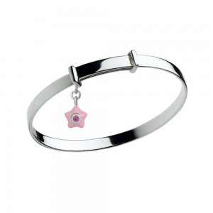 Sterling Silver Kids October Birthstone Star Charm Adjustable Bangle