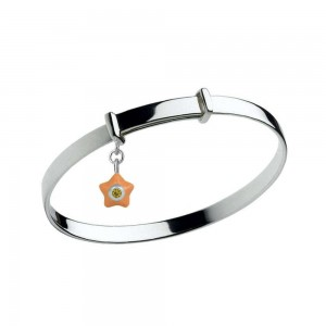 Sterling Silver Kids November Birthstone Star Charm Adjustable Bangle