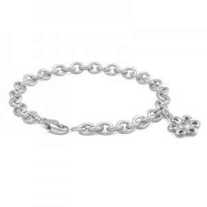 6 3/4 In Sterling Silver Diamond Accent Daisy Charm Bracelet For Girls