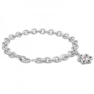 6 3/4 In Sterling Silver Pink Sapphire Daisy Charm Bracelet For Girls