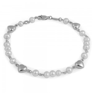 Girl's 5 1/2 In Sterling Silver White Cultured Pearl Heart Bracelet