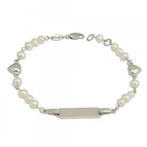 Girls 5 1/2 In Sterling Silver White Cultured Pearl Heart ID Bracelet