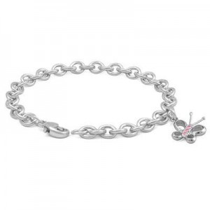 6 3/4 In Sterling Silver Pink Sapphire Butterfly Charm Bracelet For Girls