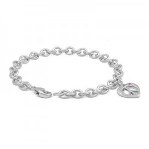 Girls Silver Pink Sapphire Heart Shape Peace Sign Charm Bracelet (6 3/4 in)