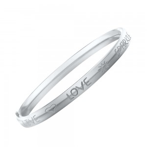 6 1/4 In Sterling Silver Live Love Sparkle Children Bangle Bracelet