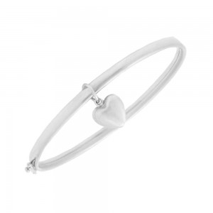 Toddlers & Kids 14K White Gold Dangling Heart Charm Bangle Bracelet (5 1/2 in)