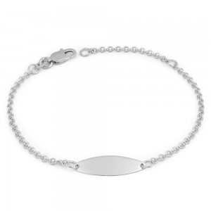 Baby And Toddler Jewelry - 5 3/4 Inches 14K White Gold ID Bracelet