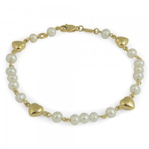 Girl's 5 1/2 In 14K Yellow Gold White Cultured Pearl Heart Bracelet