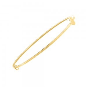 Little Girls 14K Yellow Gold Heart Adjustable Bangle Bracelet (up to 6 in)