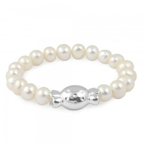 Toddler Girl 6mm Freshwater Cultured Pearl Bonbon Candy Charm Bracelet (6 in)