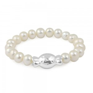 Baby Girl 6mm Freshwater Cultured Pearl Bonbon Candy Charm Bracelet (5 in)