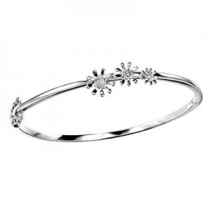 Young Girls Sterling Silver Diamond 3 Flowers Hinged Bangle