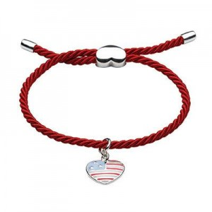 Children And Teens Jewelry - Silver Stars And Stripes Heart Bracelet