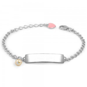 Jewelry For Babies & Children - Silver Pink Heart Cultured Pearl ID Bracelet