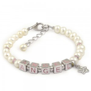 Girls Jewelry - Silver Cultured Pearl Angel Beads Star Charm Bracelet For Kids