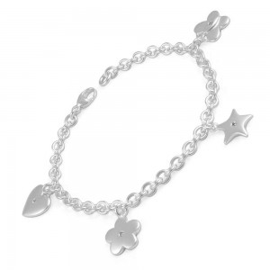 Teen Girls Silver Diamond Heart Star Flower Butterfly Charms Bracelet (7 1/4 in)