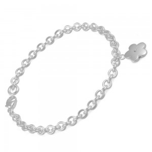 6 1/2 In Toddlers And Children Silver Diamond Flower Charm Bracelet