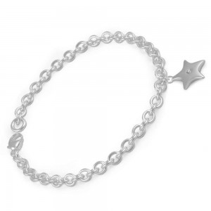 6 1/2 Inches Toddlers And Children Silver Diamond star Charm Bracelet