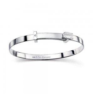 Children Sterling Silver Wheels on the Bus Diamond Accent Bangle (up to 6 in)