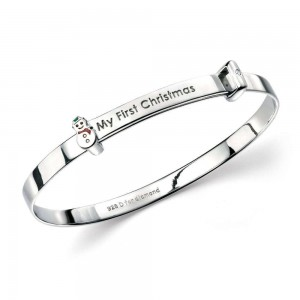 Baby Boy & Girl Jewelry - 6 In Silver My First Christmas Snowman Diamond Bangle