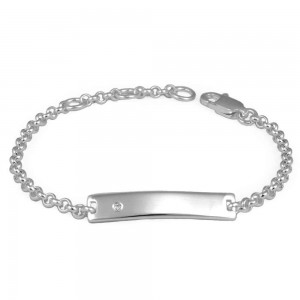 Little Girl & Boy Jewelry - Silver Adjustable Chain Diamond ID Bracelet (4 1/2-5 1/2 in)