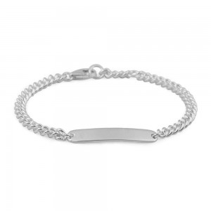 Boys And Girls Jewelry - Sterling Silver Curb Chain ID Bracelet (6, 6 1/2 in)
