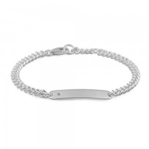 Boys And Girls Jewelry - Silver Curb Chain Diamond ID Bracelet (6, 6 1/2 in)