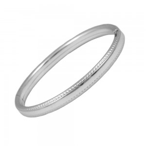 Toddler Sterling Silver Beaded Edge Design Bangle Bracelet (5 1/4 in)
