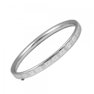 Kids Jewelry - 6 Inches Sterling Silver Alphabet Bangle Bracelet