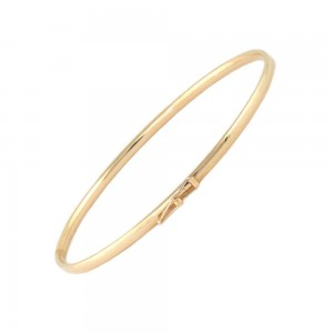 5 1/4 Inches 14K Yellow Gold Plain Bangle Bracelet For Boys And Girls