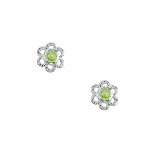 Girls Sterling Silver Genuine Peridot August Birthstone Flower Earrings