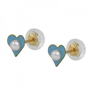 Girl 14K Yellow Gold Blue Heart Cultured Pearl Silicone Back Earrings