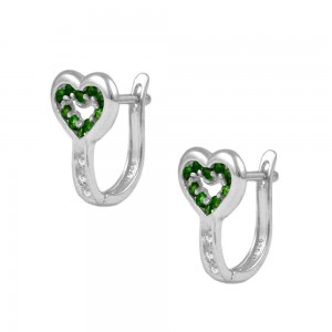 Child & Teen Silver Heart May Birthstone Latch Back Earrings
