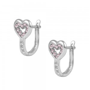 Child & Teen Silver Heart October Birthstone Latch Back Earrings