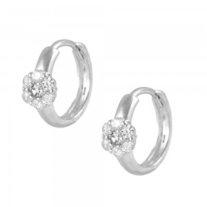 Silver Flower CZ April Birthstone Flower Hoop Earrings