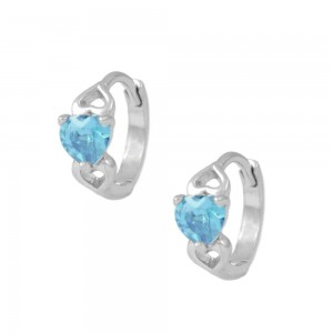 Baby & Toddler Girl 14K White Gold Heart March Birthstone Hoop Earrings