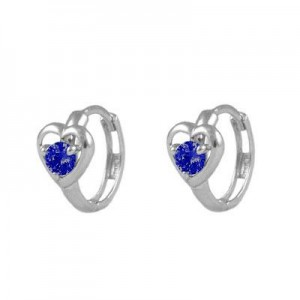 Baby And Toddler 14K White Gold Heart September Birthstone Hoop Earrings