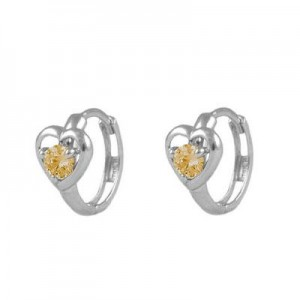 Baby And Toddler 14K White Gold Heart November Birthstone Hoop Earrings