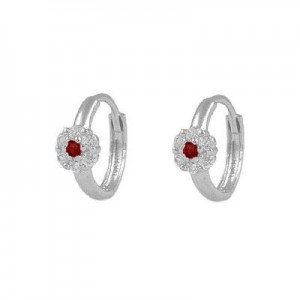 Girl's 14K White Gold Flower CZ January Birthstone Huggie Hoop Earrings