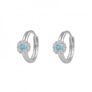 Girl's 14K White Gold Flower CZ March Birthstone Huggie Hoop Earrings