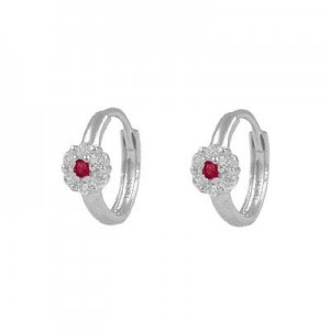 Girl's 14K White Gold Flower CZ July Birthstone Huggie Hoop Earrings