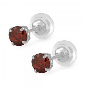 14K White Gold 4mm January Birthstone Silicone Back Girls Earrings