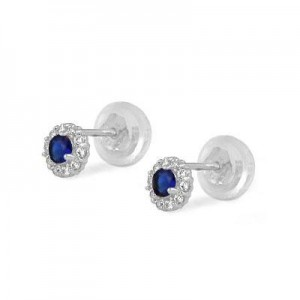 14K White Gold September Birthstone Baby And Toddler Flower Earrings