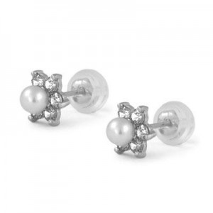 14K White Gold April Birthstone And Pearl Children Flower Studs