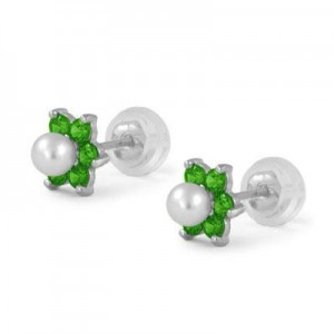14K White Gold May Birthstone And Pearl Children Flower Studs